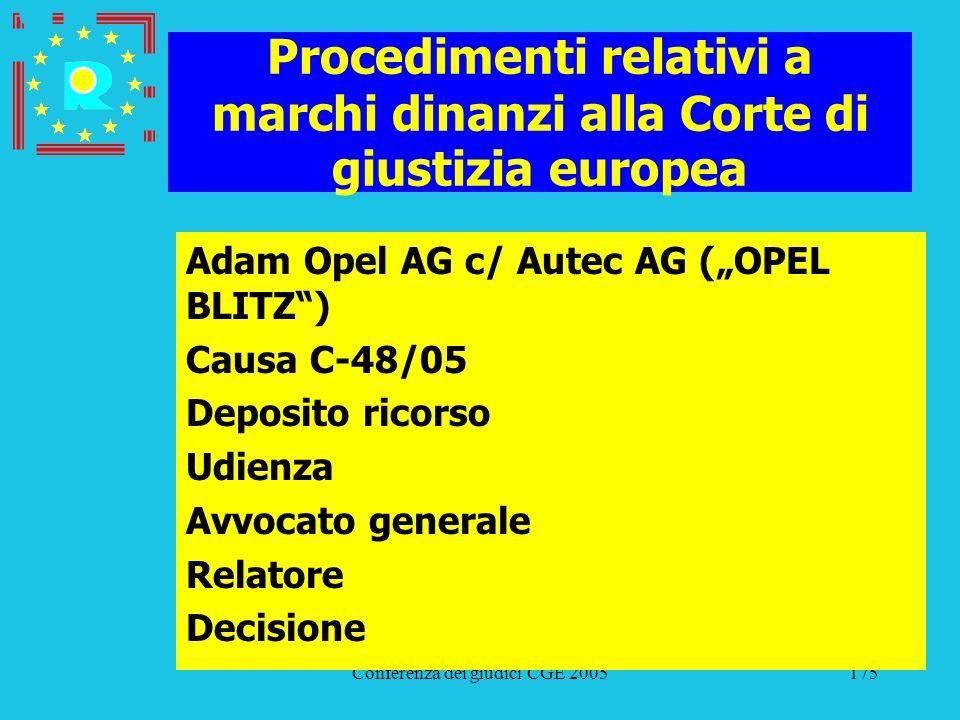 Conferenza dei giudici CGE 2005175 Procedimenti relativi a marchi dinanzi alla Corte di giustizia europea Adam Opel AG c/ Autec AG (OPEL BLITZ) Causa