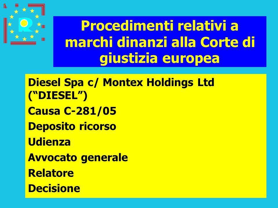 Conferenza dei giudici CGE 2005176 Procedimenti relativi a marchi dinanzi alla Corte di giustizia europea Diesel Spa c/ Montex Holdings Ltd (DIESEL) C