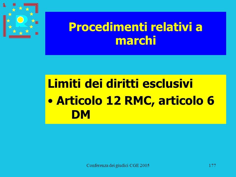 Conferenza dei giudici CGE 2005177 Procedimenti relativi a marchi Limiti dei diritti esclusivi Articolo 12 RMC, articolo 6 DM