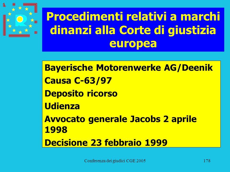 Conferenza dei giudici CGE 2005178 Procedimenti relativi a marchi dinanzi alla Corte di giustizia europea Bayerische Motorenwerke AG/Deenik Causa C-63