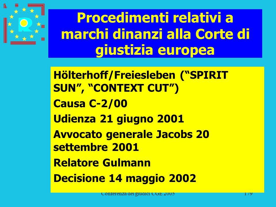 Conferenza dei giudici CGE 2005179 Procedimenti relativi a marchi dinanzi alla Corte di giustizia europea Hölterhoff/Freiesleben (SPIRIT SUN, CONTEXT