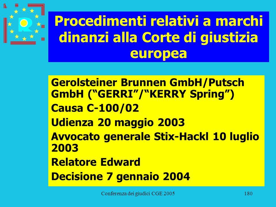Conferenza dei giudici CGE 2005180 Procedimenti relativi a marchi dinanzi alla Corte di giustizia europea Gerolsteiner Brunnen GmbH/Putsch GmbH (GERRI