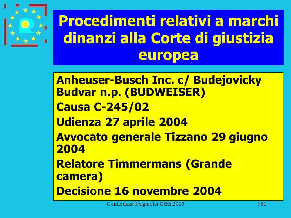 Conferenza dei giudici CGE 2005181 Procedimenti relativi a marchi dinanzi alla Corte di giustizia europea Anheuser-Busch Inc. c/ Budejovicky Budvar n.