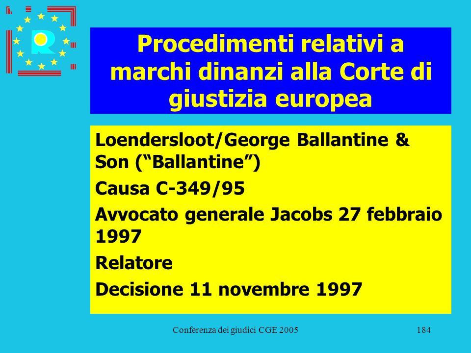 Conferenza dei giudici CGE 2005184 Procedimenti relativi a marchi dinanzi alla Corte di giustizia europea Loendersloot/George Ballantine & Son (Ballan
