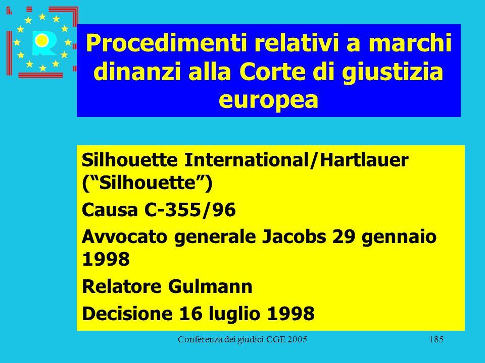 Conferenza dei giudici CGE 2005185 Procedimenti relativi a marchi dinanzi alla Corte di giustizia europea Silhouette International/Hartlauer (Silhouet