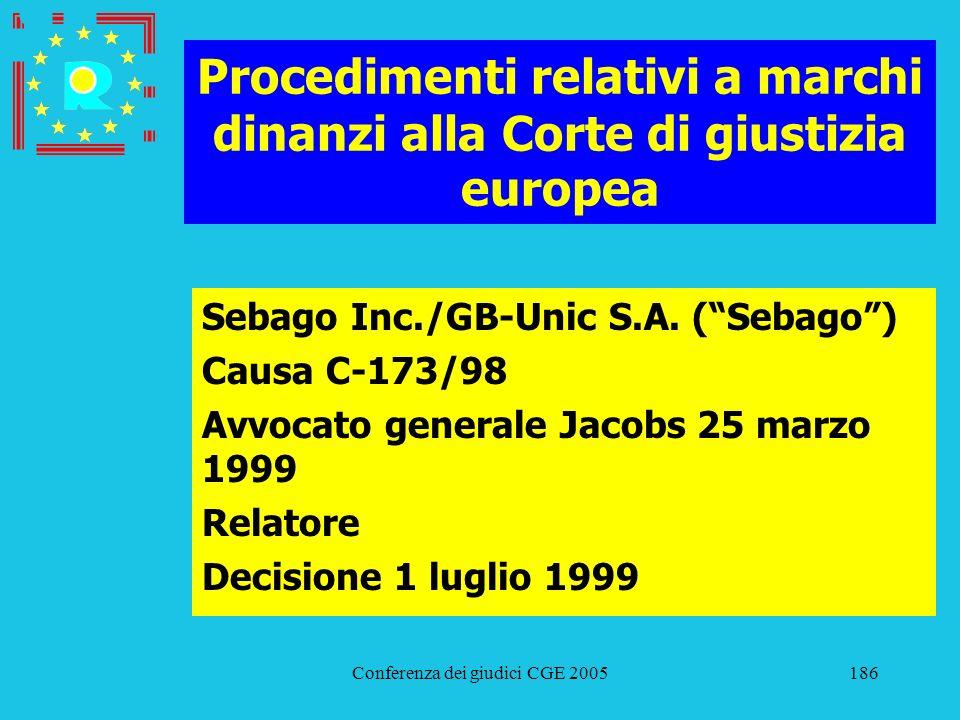 Conferenza dei giudici CGE 2005186 Procedimenti relativi a marchi dinanzi alla Corte di giustizia europea Sebago Inc./GB-Unic S.A. (Sebago) Causa C-17