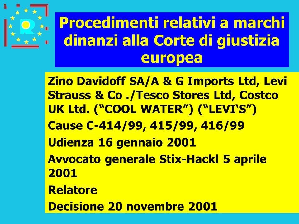 Conferenza dei giudici CGE 2005187 Procedimenti relativi a marchi dinanzi alla Corte di giustizia europea Zino Davidoff SA/A & G Imports Ltd, Levi Str