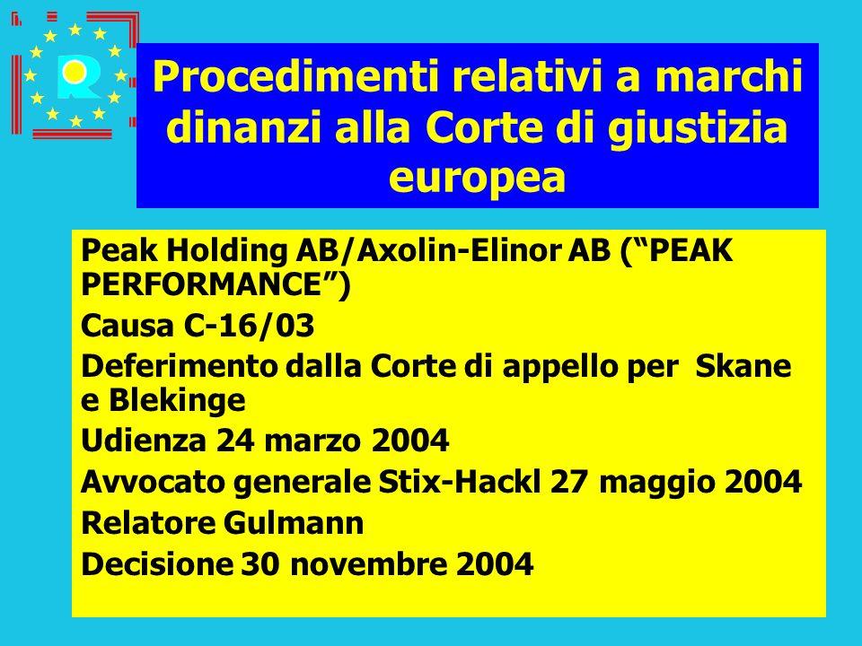 Conferenza dei giudici CGE 2005188 Procedimenti relativi a marchi dinanzi alla Corte di giustizia europea Peak Holding AB/Axolin-Elinor AB (PEAK PERFO
