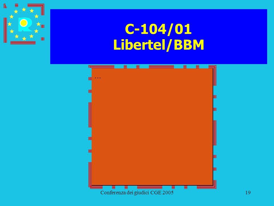 Conferenza dei giudici CGE 200519 C-104/01 Libertel/BBM