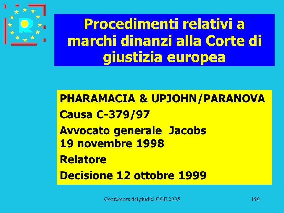 Conferenza dei giudici CGE 2005190 Procedimenti relativi a marchi dinanzi alla Corte di giustizia europea PHARAMACIA & UPJOHN/PARANOVA Causa C-379/97
