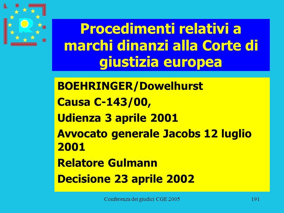 Conferenza dei giudici CGE 2005191 Procedimenti relativi a marchi dinanzi alla Corte di giustizia europea BOEHRINGER/Dowelhurst Causa C-143/00, Udienz