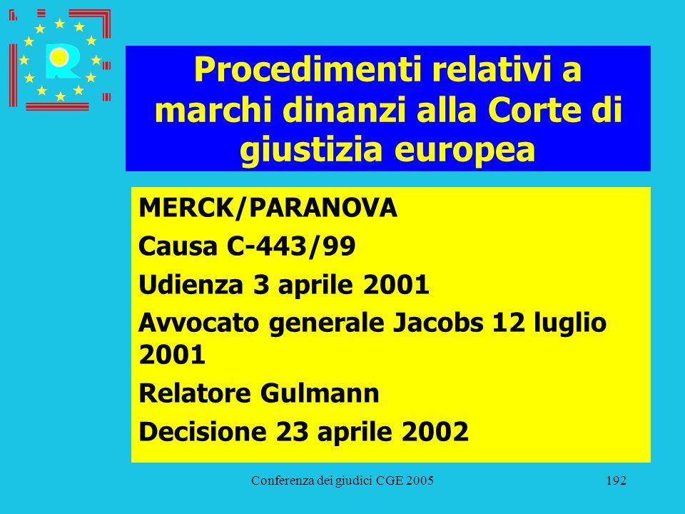 Conferenza dei giudici CGE 2005192 Procedimenti relativi a marchi dinanzi alla Corte di giustizia europea MERCK/PARANOVA Causa C-443/99 Udienza 3 apri