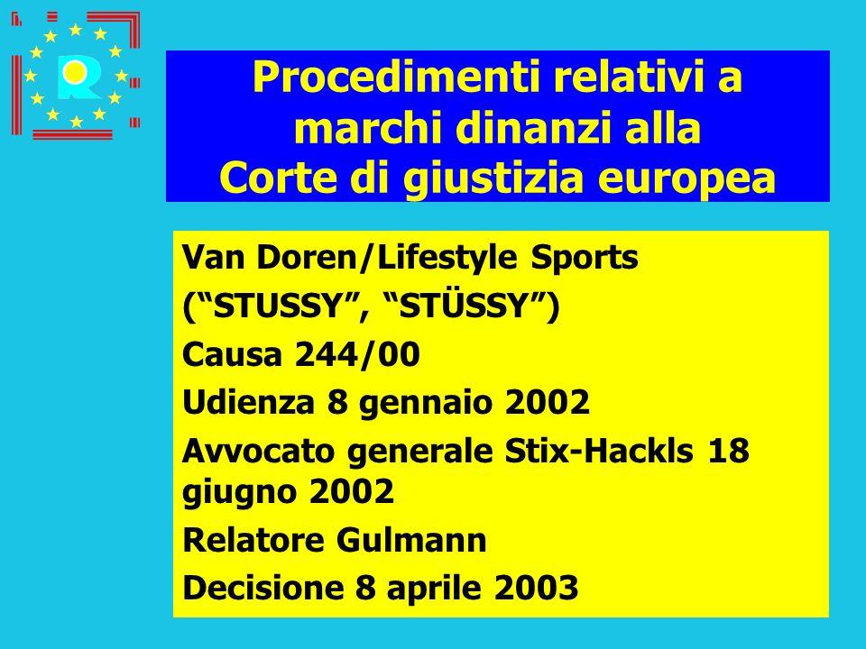 Conferenza dei giudici CGE 2005194 Procedimenti relativi a marchi dinanzi alla Corte di giustizia europea Van Doren/Lifestyle Sports (STUSSY, STÜSSY)