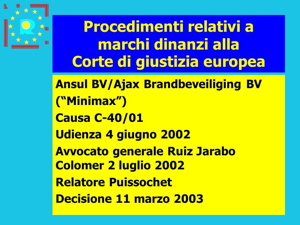 Conferenza dei giudici CGE 2005196 Procedimenti relativi a marchi dinanzi alla Corte di giustizia europea Ansul BV/Ajax Brandbeveiliging BV (Minimax)
