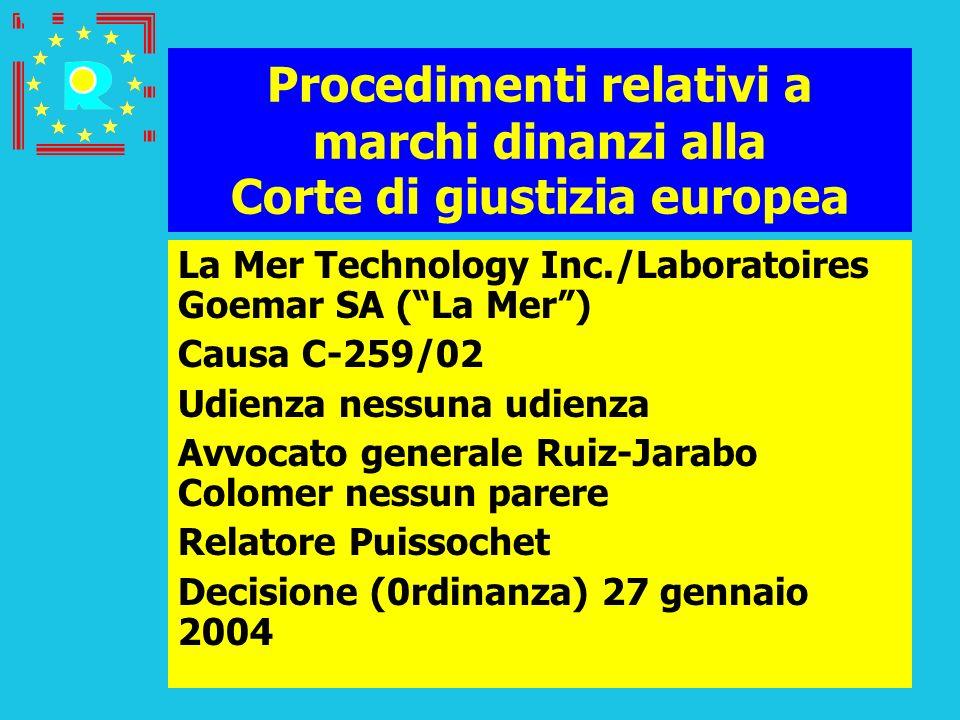 Conferenza dei giudici CGE 2005197 Procedimenti relativi a marchi dinanzi alla Corte di giustizia europea La Mer Technology Inc./Laboratoires Goemar S