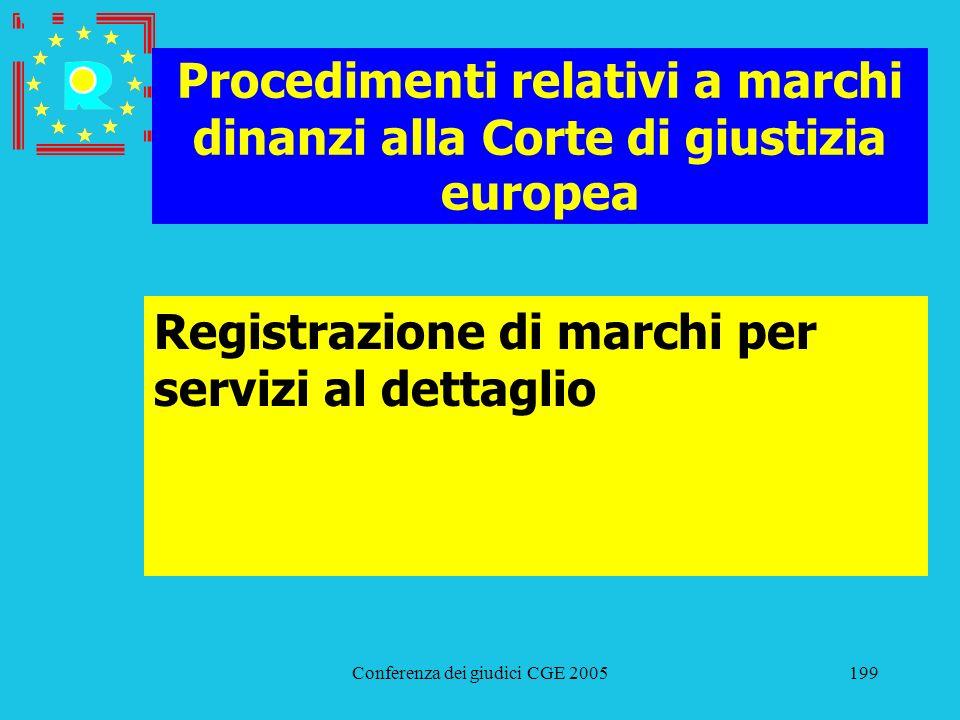 Conferenza dei giudici CGE 2005199 Procedimenti relativi a marchi dinanzi alla Corte di giustizia europea Registrazione di marchi per servizi al detta