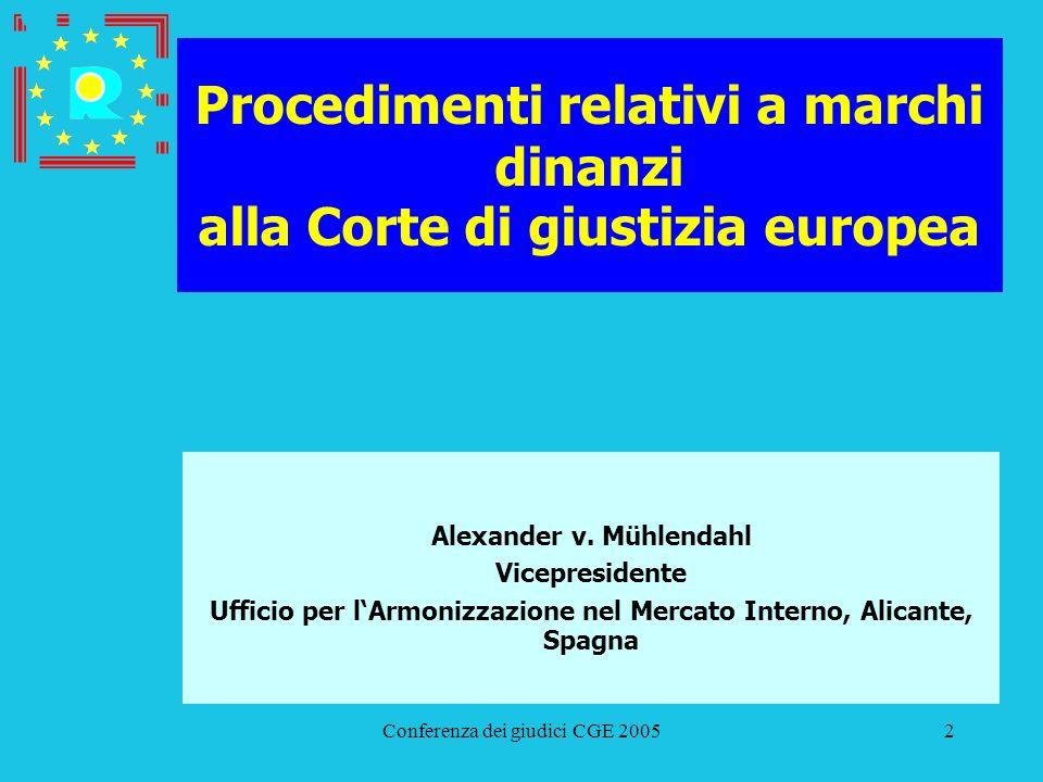 Conferenza dei giudici CGE 200553 Procedimenti relativi a marchi dinanzi alla Corte di giustizia europea Glaverbel/UAMI (Vetro stampato) C-445/02 P (T-63/01) Ricorso contro il TPG 9 ottobre 2002 Udienza Avvocato generale Ricorso respinto con provvedimento del 28 giugno 2004