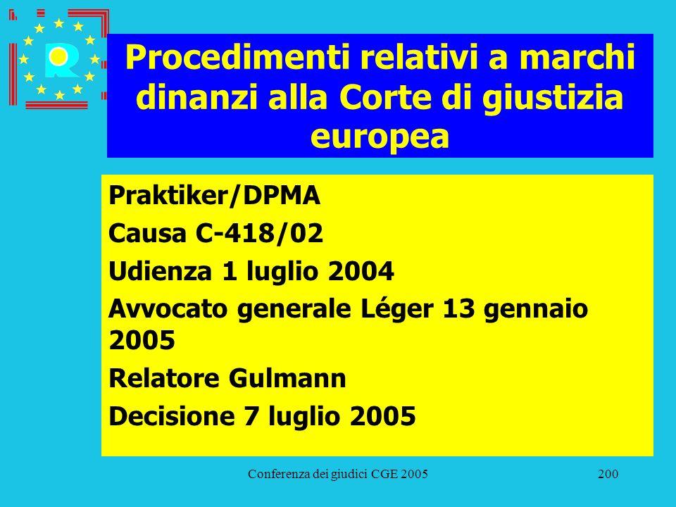 Conferenza dei giudici CGE 2005200 Procedimenti relativi a marchi dinanzi alla Corte di giustizia europea Praktiker/DPMA Causa C-418/02 Udienza 1 lugl