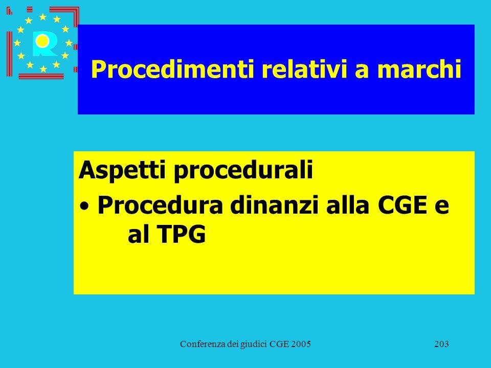 Conferenza dei giudici CGE 2005203 Procedimenti relativi a marchi Aspetti procedurali Procedura dinanzi alla CGE e al TPG