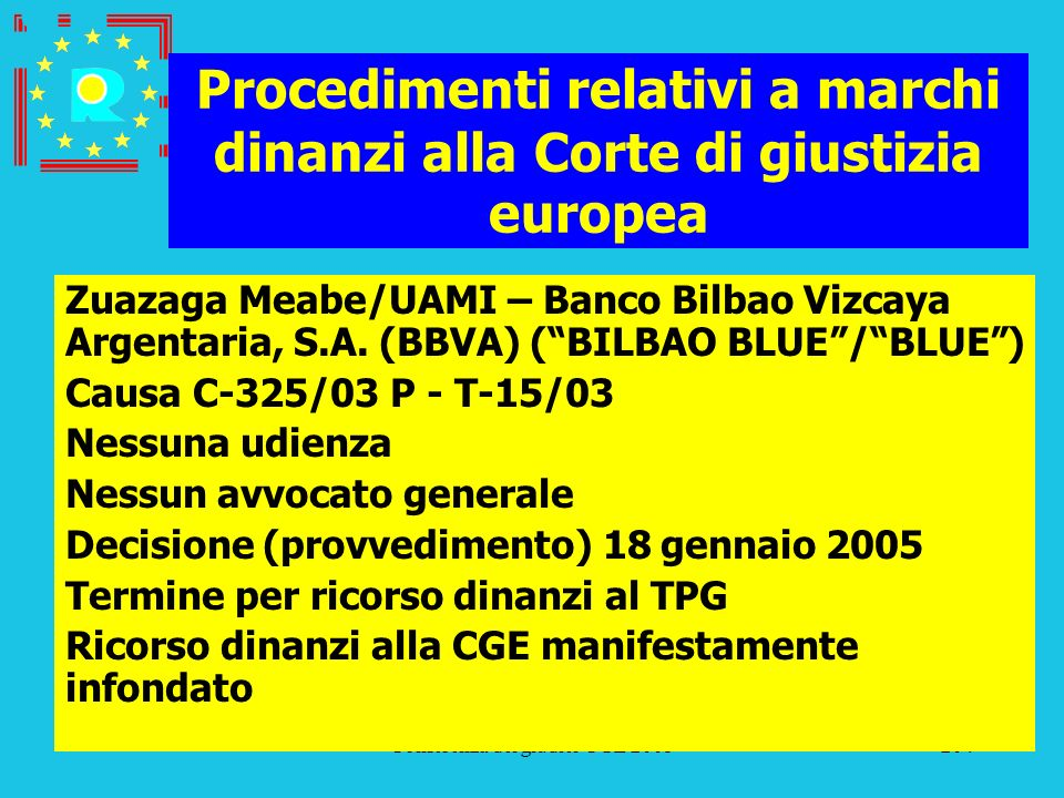 Conferenza dei giudici CGE 2005204 Procedimenti relativi a marchi dinanzi alla Corte di giustizia europea Zuazaga Meabe/UAMI – Banco Bilbao Vizcaya Ar