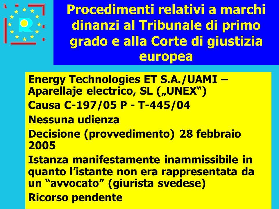 Conferenza dei giudici CGE 2005205 Procedimenti relativi a marchi dinanzi al Tribunale di primo grado e alla Corte di giustizia europea Energy Technol