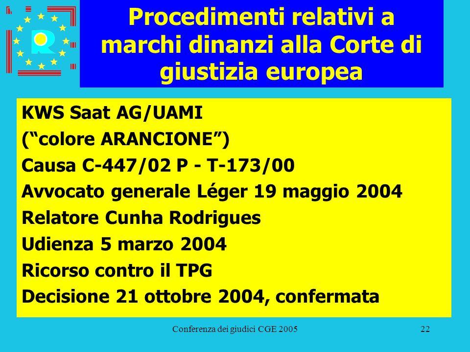 Conferenza dei giudici CGE 200522 Procedimenti relativi a marchi dinanzi alla Corte di giustizia europea KWS Saat AG/UAMI (colore ARANCIONE) Causa C-4