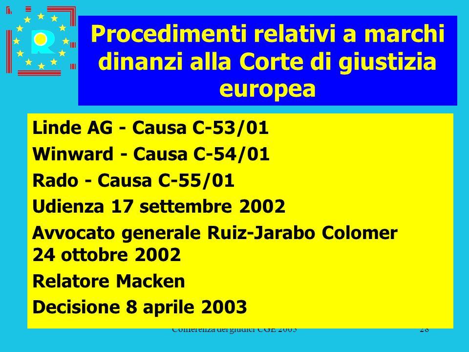 Conferenza dei giudici CGE 200528 Procedimenti relativi a marchi dinanzi alla Corte di giustizia europea Linde AG - Causa C-53/01 Winward - Causa C-54
