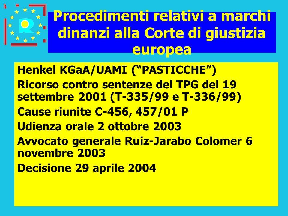 Conferenza dei giudici CGE 200535 Procedimenti relativi a marchi dinanzi alla Corte di giustizia europea Henkel KGaA/UAMI (PASTICCHE) Ricorso contro s