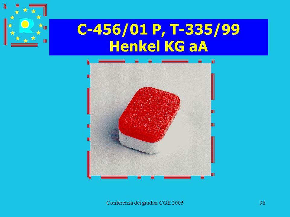 Conferenza dei giudici CGE 200536 C-456/01 P, T-335/99 Henkel KG aA