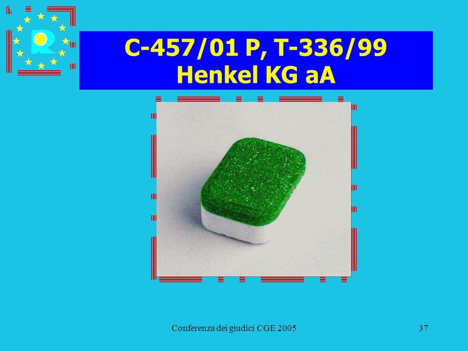 Conferenza dei giudici CGE 200537 C-457/01 P, T-336/99 Henkel KG aA