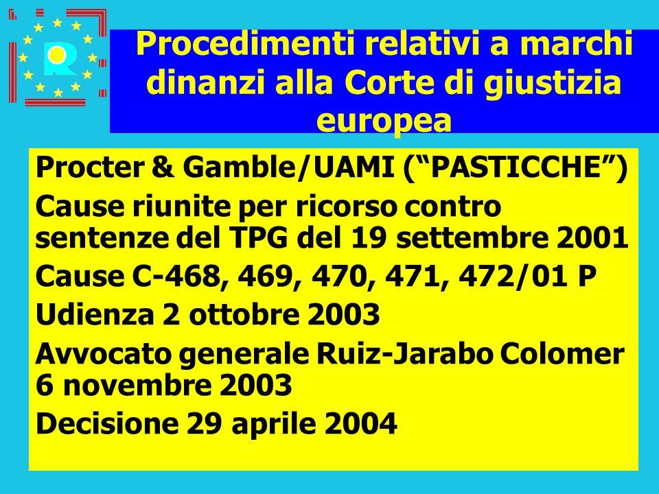 Conferenza dei giudici CGE 200538 Procedimenti relativi a marchi dinanzi alla Corte di giustizia europea Procter & Gamble/UAMI (PASTICCHE) Cause riuni