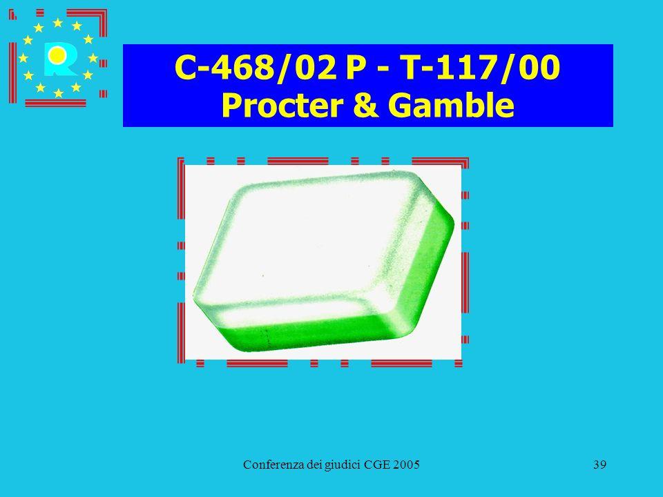 Conferenza dei giudici CGE 200539 C-468/02 P - T-117/00 Procter & Gamble