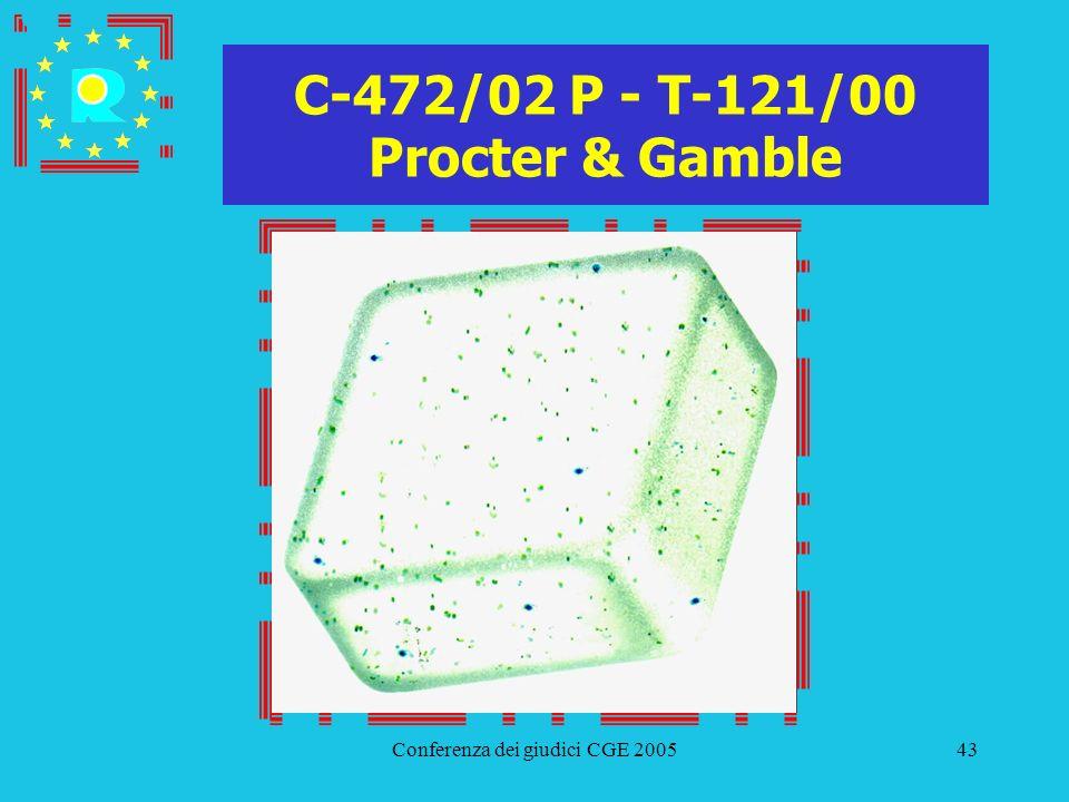 Conferenza dei giudici CGE 200543 C-472/02 P - T-121/00 Procter & Gamble