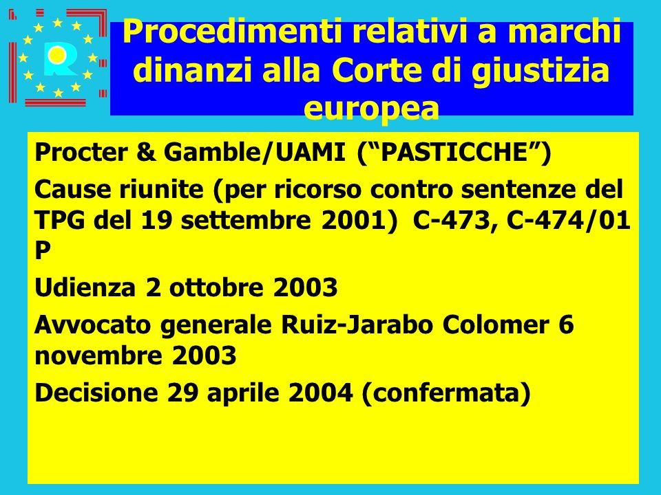 Conferenza dei giudici CGE 200544 Procedimenti relativi a marchi dinanzi alla Corte di giustizia europea Procter & Gamble/UAMI (PASTICCHE) Cause riuni