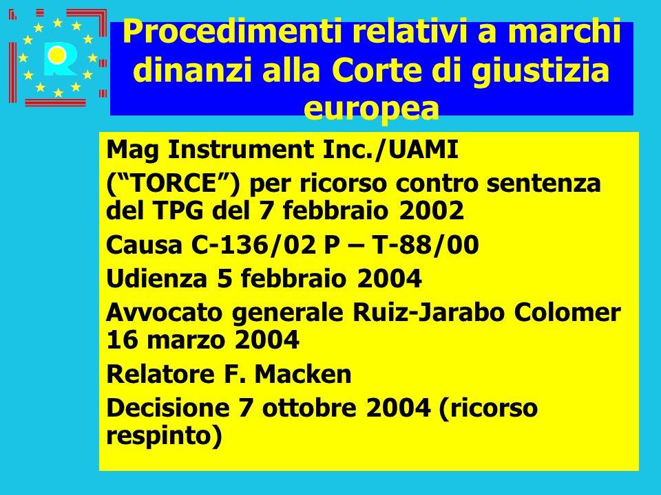 Conferenza dei giudici CGE 200547 Procedimenti relativi a marchi dinanzi alla Corte di giustizia europea Mag Instrument Inc./UAMI (TORCE) per ricorso