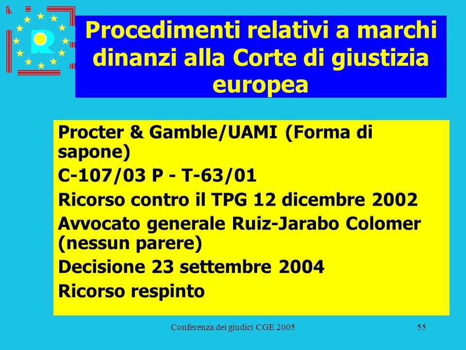 Conferenza dei giudici CGE 200555 Procedimenti relativi a marchi dinanzi alla Corte di giustizia europea Procter & Gamble/UAMI (Forma di sapone) C-107