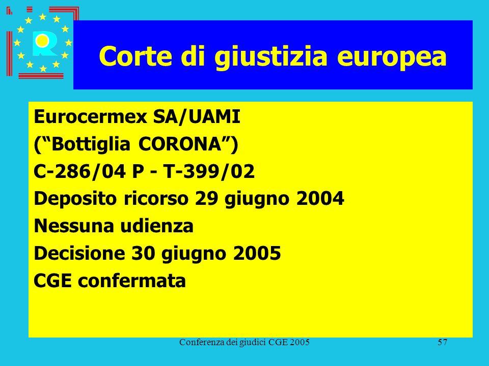 Conferenza dei giudici CGE 200557 Corte di giustizia europea Eurocermex SA/UAMI (Bottiglia CORONA) C-286/04 P - T-399/02 Deposito ricorso 29 giugno 20