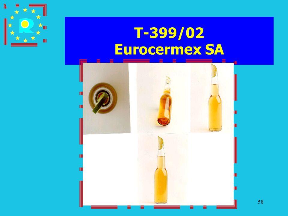 Conferenza dei giudici CGE 200558 T-399/02 Eurocermex SA