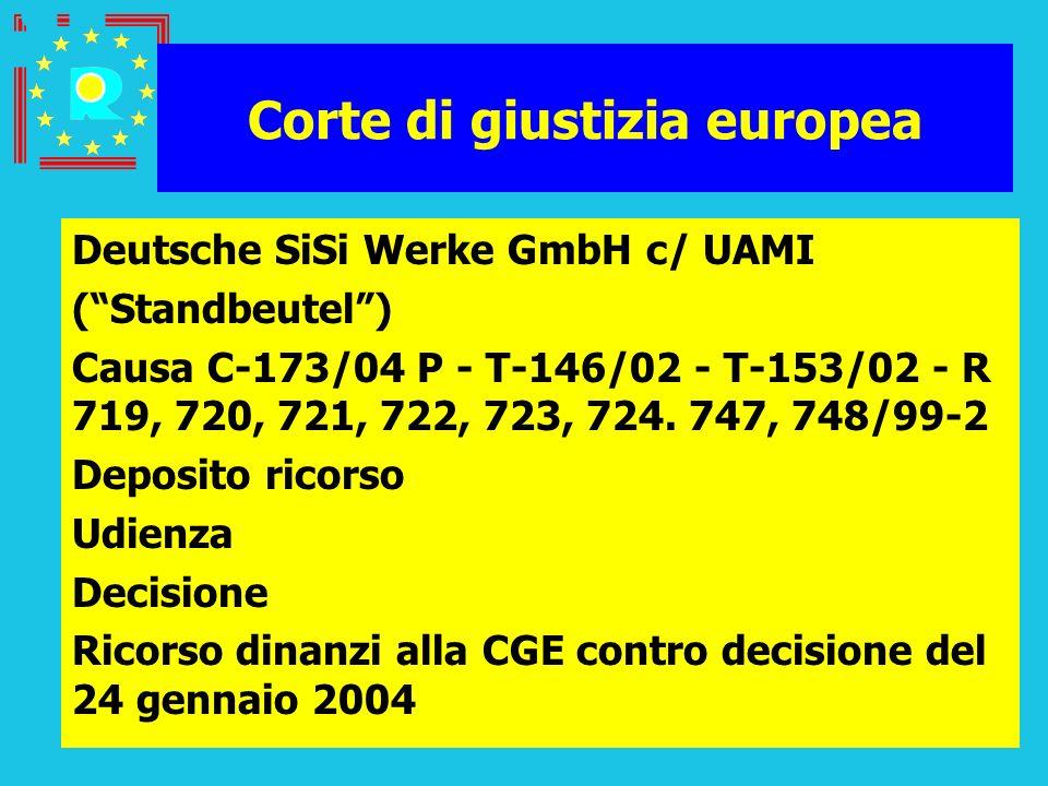 Conferenza dei giudici CGE 200560 Corte di giustizia europea Deutsche SiSi Werke GmbH c/ UAMI (Standbeutel) Causa C-173/04 P - T-146/02 - T-153/02 - R
