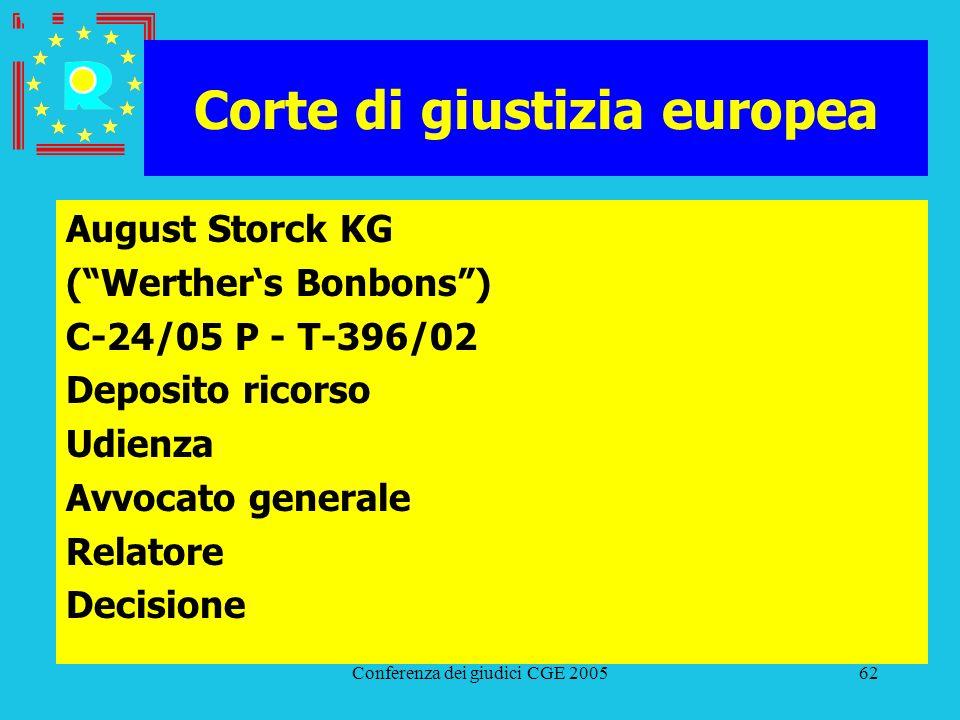 Conferenza dei giudici CGE 200562 Corte di giustizia europea August Storck KG (Werthers Bonbons) C-24/05 P - T-396/02 Deposito ricorso Udienza Avvocat