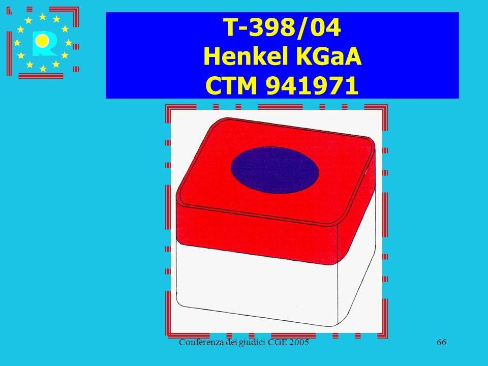 Conferenza dei giudici CGE 200566 T-398/04 Henkel KGaA CTM 941971
