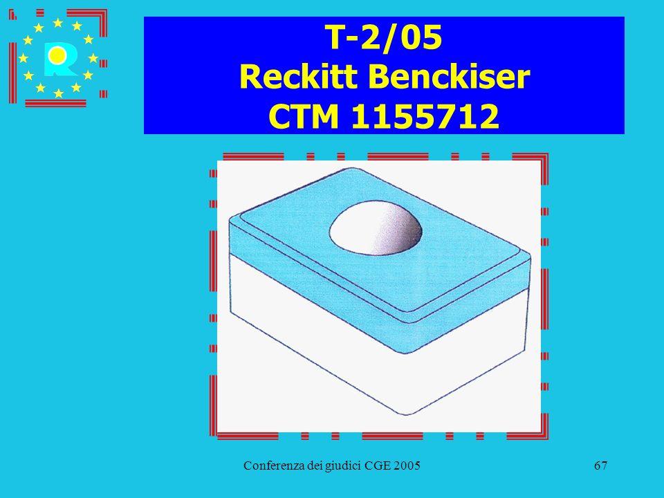 Conferenza dei giudici CGE 200567 T-2/05 Reckitt Benckiser CTM 1155712
