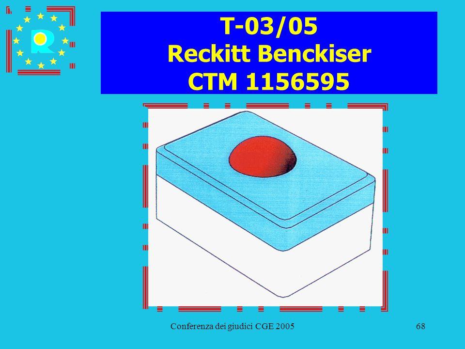 Conferenza dei giudici CGE 200568 T-03/05 Reckitt Benckiser CTM 1156595