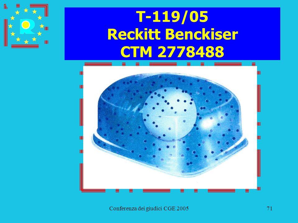Conferenza dei giudici CGE 200571 T-119/05 Reckitt Benckiser CTM 2778488