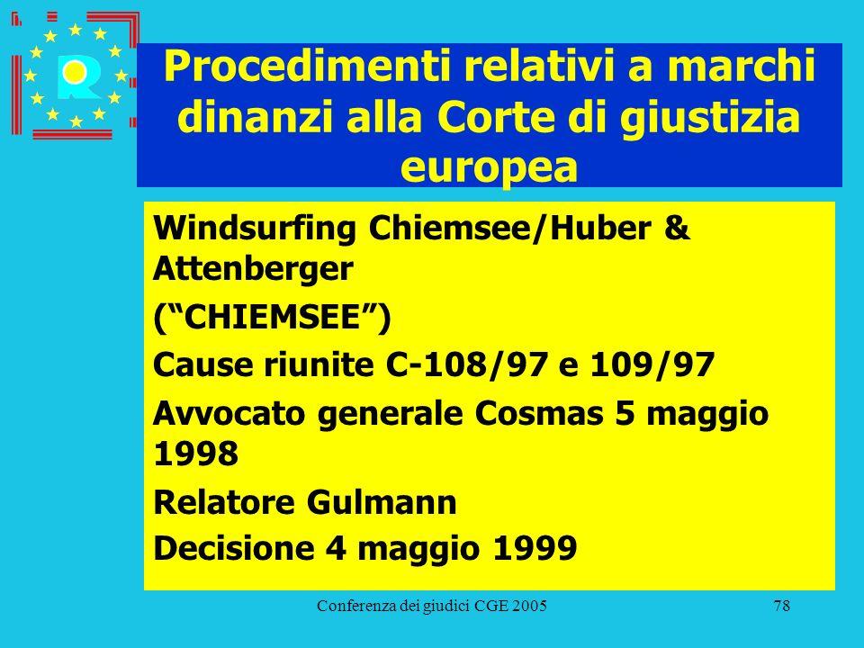 Conferenza dei giudici CGE 200578 Procedimenti relativi a marchi dinanzi alla Corte di giustizia europea Windsurfing Chiemsee/Huber & Attenberger (CHI