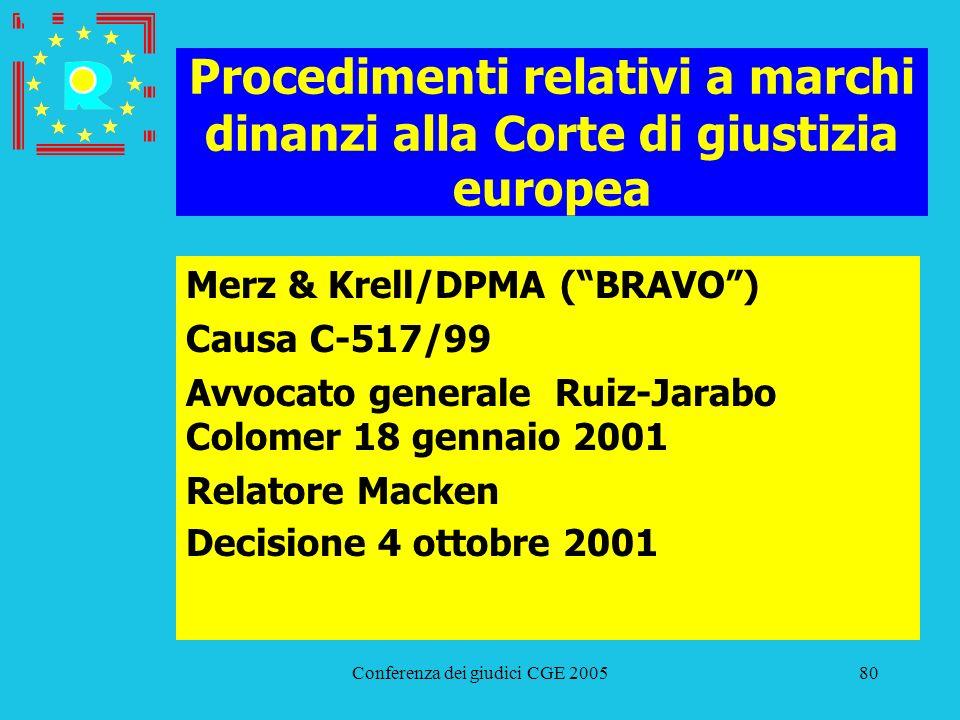 Conferenza dei giudici CGE 200580 Procedimenti relativi a marchi dinanzi alla Corte di giustizia europea Merz & Krell/DPMA (BRAVO) Causa C-517/99 Avvo