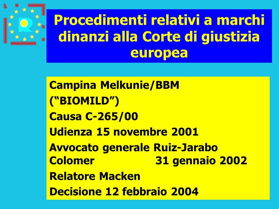 Conferenza dei giudici CGE 200581 Procedimenti relativi a marchi dinanzi alla Corte di giustizia europea Campina Melkunie/BBM (BIOMILD) Causa C-265/00