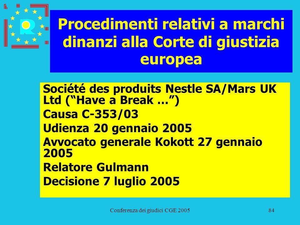 Conferenza dei giudici CGE 200584 Procedimenti relativi a marchi dinanzi alla Corte di giustizia europea Société des produits Nestle SA/Mars UK Ltd (H