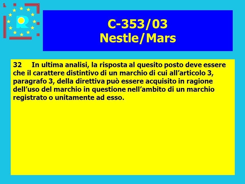Conferenza dei giudici CGE 200585 C-353/03 Nestle/Mars 32 In ultima analisi, la risposta al quesito posto deve essere che il carattere distintivo di u