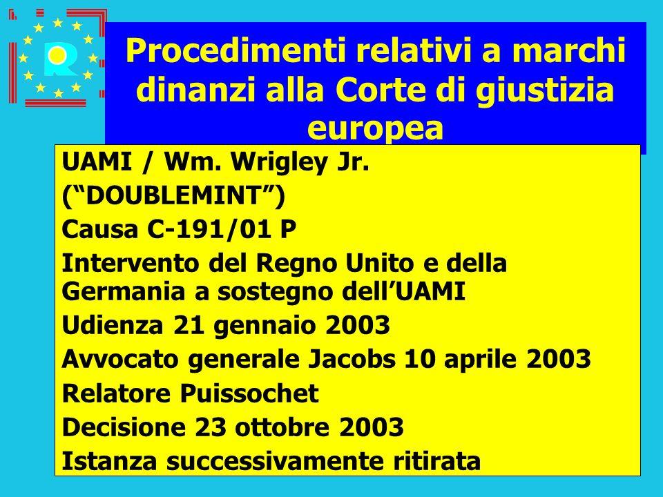 Conferenza dei giudici CGE 200593 Procedimenti relativi a marchi dinanzi alla Corte di giustizia europea UAMI / Wm. Wrigley Jr. (DOUBLEMINT) Causa C-1